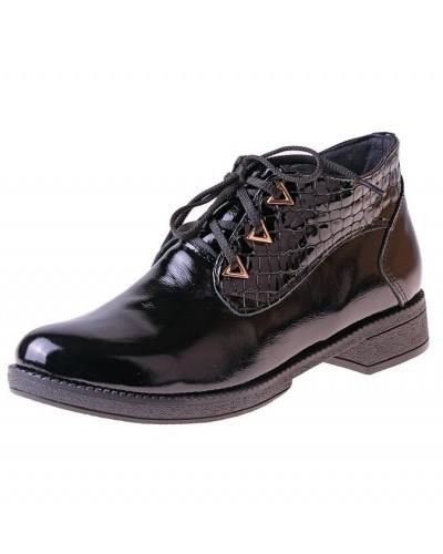 Женские ботинки Haries 215 лак+рептилия черный