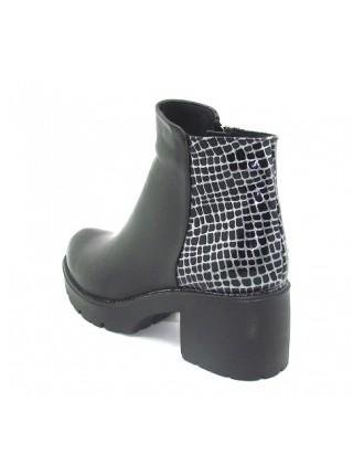 Женские ботинки Haries 220/4 кожа черный+клетка