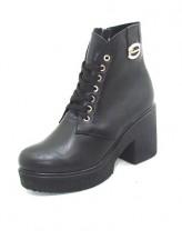 Женские ботинки Haries 37м-6см кожа черный