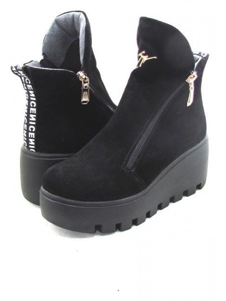 Женские ботинки Haries 637 замш черный