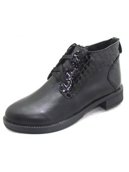 Женские ботинки Haries 215 кожа+лак-р черный