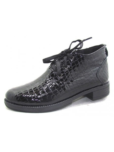 Женские ботинки Haries 215 лак рептилия черный