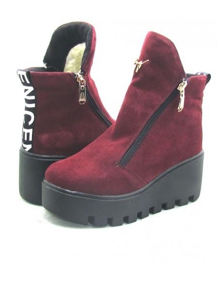 Женские ботинки Haries 637з замш бордо