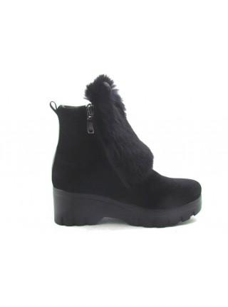 Женские ботинки Haries 313 уши замш черный