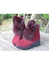 Женские ботинки Haries 313 уши замш бордо