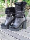 Женские сапоги Haries 89 кожа черный