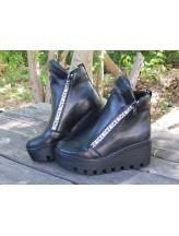 Женские ботинки Haries 637/1 кожа черный