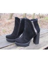 Женские ботинки Haries 787/5 замш+сер черный