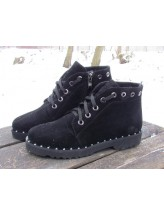 Женские ботинки Haries 219ромб замш черный