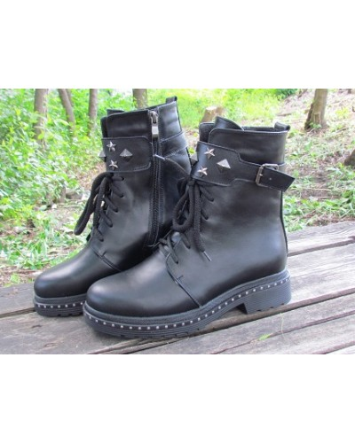 Женские ботинки Haries 555 кожа черный