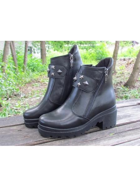 Женские ботинки Haries 514К кожа черный