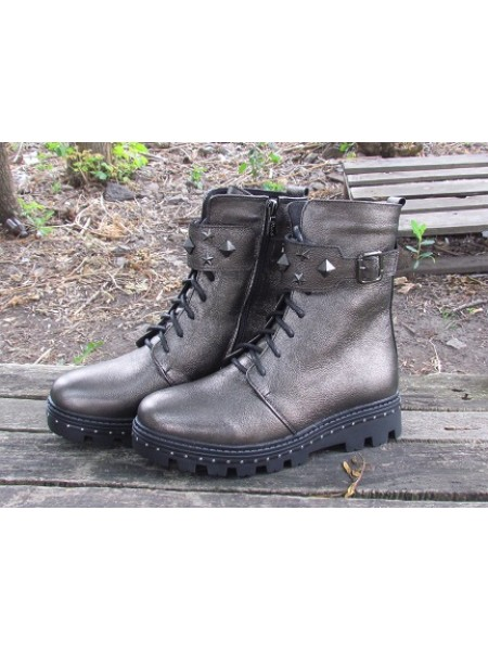 Женские ботинки Haries 555 флатар оливка перламутр