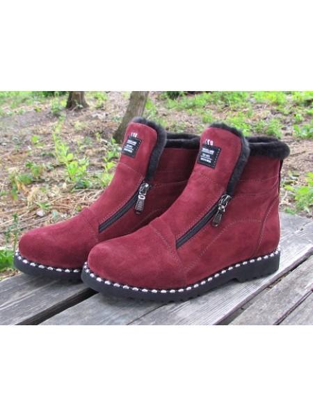 Женские ботинки Haries 340гв замш бордо
