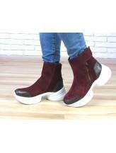 Женские ботинки Haries 540 бордовая замша