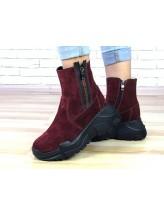 Женские ботинки Haries 537с чп замш бордо