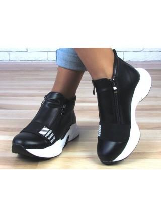 Женские кроссовки  Haries 238БП черная кожа