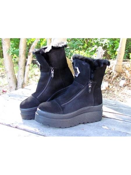 Женские ботинки Haries 641 замш черный