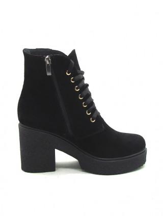 Женские ботинки Haries 37м-6см замш черный