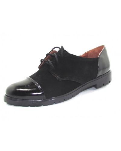 Женские туфли Haries 267 замша+лак черный