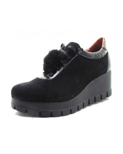 Женские туфли Haries 888T бубон замш черный