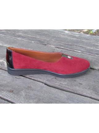 Женские туфли Haries 119 замш бордо+лак