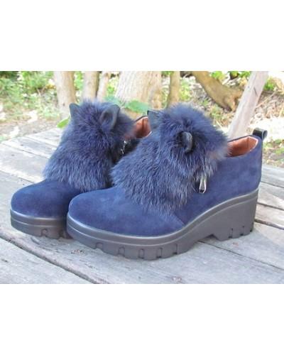 Женские туфли Haries 188Т уши замш синий