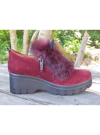 Женские туфли Haries 188Т уши замш бордо
