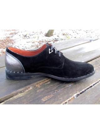 Женские туфли Haries 260гвозди замш+серебро